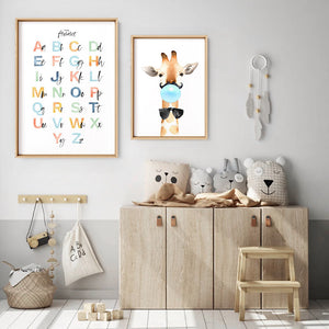 The Alphabet | Kids Upper & Lowercase Characters - Art Print, Stretched Canvas or Framed Canvas Wall Art, Shown framed in a room mockup