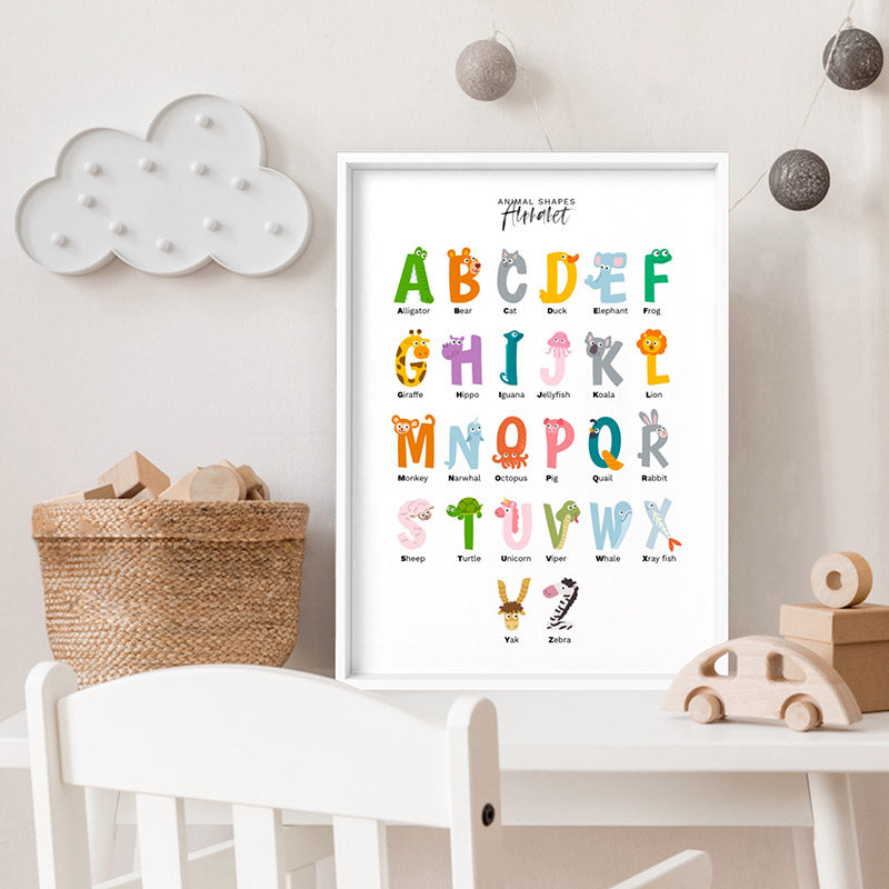 Animal Shapes Alphabet - Art Print, Stretched Canvas or Framed Canvas Wall Art, Shown inside a frame