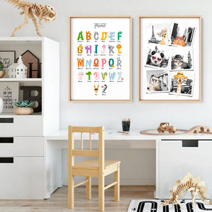 Animal Shapes Alphabet - Art Print, Stretched Canvas or Framed Canvas Wall Art, Shown framed in a room mockup