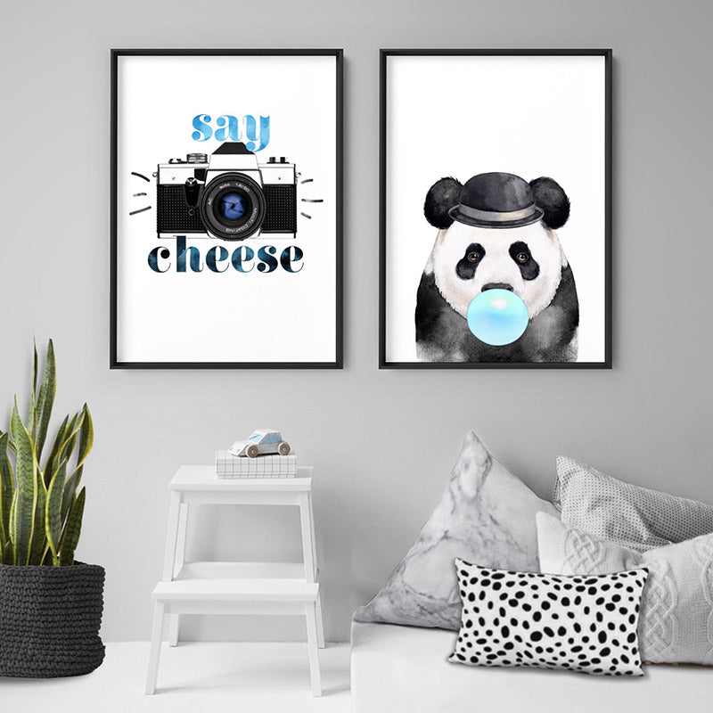 Load image into Gallery viewer, Say Cheese - Art Print, Stretched Canvas or Framed Canvas Wall Art, Shown framed in a room mockup