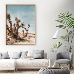 Joshua Trees Desert Landscape I - Art Print, Stretched Canvas or Framed Canvas Wall Art, Shown inside a frame