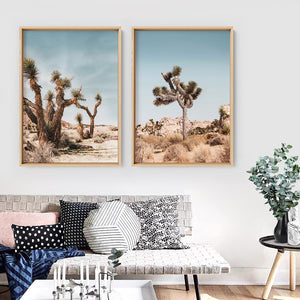 Joshua Trees Desert Landscape I - Art Print, Stretched Canvas or Framed Canvas Wall Art, Shown framed in a room mockup