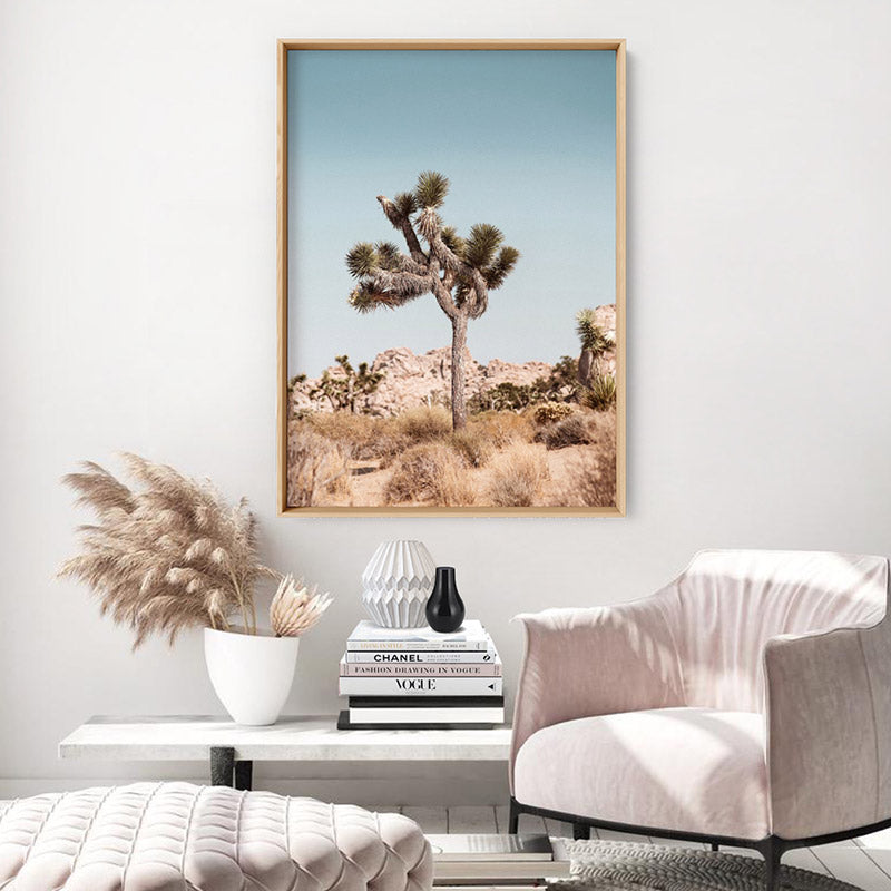 Joshua Tree Desert Landscape II - Art Print, Stretched Canvas or Framed Canvas Wall Art, Shown inside a frame