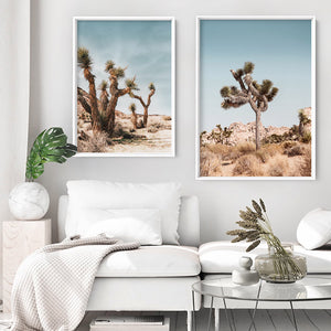 Joshua Tree Desert Landscape II - Art Print, Stretched Canvas or Framed Canvas Wall Art, Shown framed in a room mockup