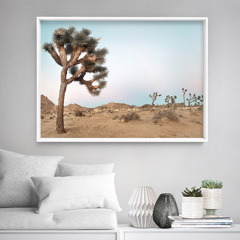 Joshua Tree Desert Landscape III - Art Print, Stretched Canvas or Framed Canvas Wall Art, Shown inside a frame