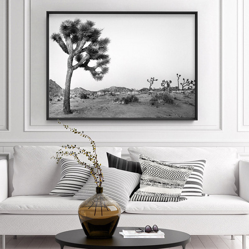 Joshua Tree Desert Landscape Black and White - Art Print, Stretched Canvas or Framed Canvas Wall Art, Shown inside a frame