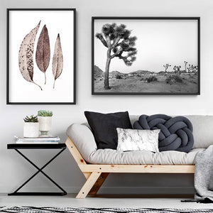Joshua Tree Desert Landscape Black and White - Art Print, Stretched Canvas or Framed Canvas Wall Art, Shown framed in a room mockup