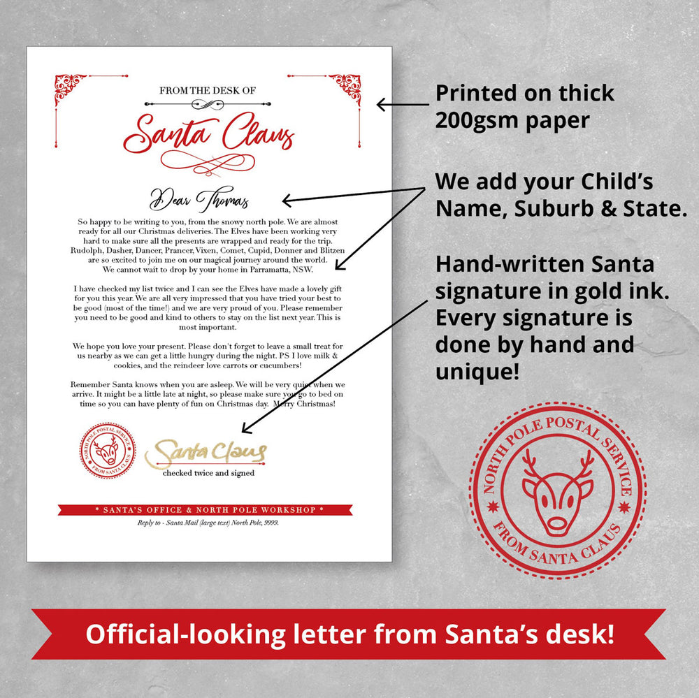 Custom Personalised Letter from Santa, showing details of the letter + customisation options