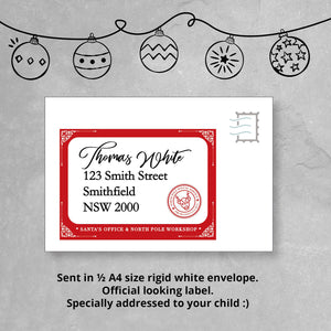 Custom Personalised Letter from Santa, showing details of special envelope letter will be sent it