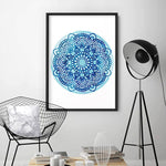 Mandala Watercolour Blues I - Art Print, Stretched Canvas or Framed Canvas Wall Art, Shown inside a frame