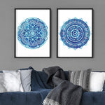 Mandala Watercolour Blues I - Art Print, Stretched Canvas or Framed Canvas Wall Art, Shown framed in a room mockup