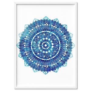 Mandala Watercolour Blues II - Art Print