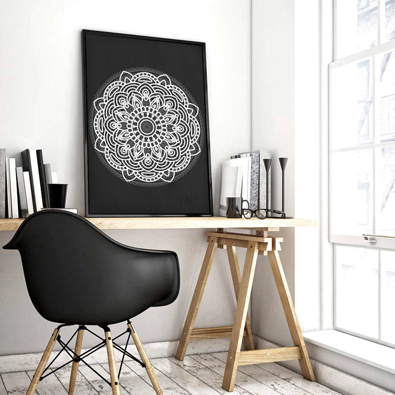 Mandala in Charcoal & White - Art Print, Stretched Canvas or Framed Canvas Wall Art, Shown inside a frame