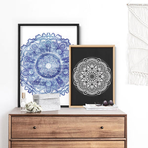 Mandala in Charcoal & White - Art Print, Stretched Canvas or Framed Canvas Wall Art, Shown framed in a room mockup