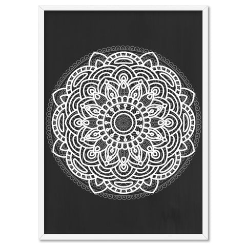 Mandala in Charcoal & White - Art Print