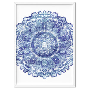 Mandala in Distressed Nautical Watercolours - Art Print