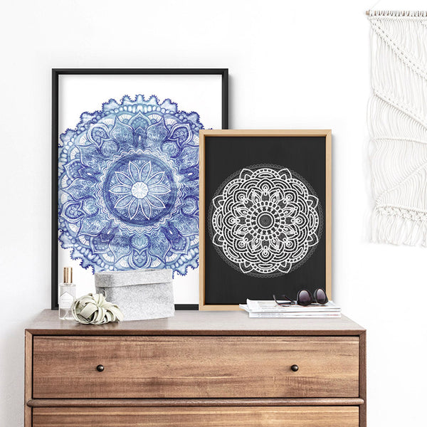 Mandala in Distressed Nautical Watercolours - Art Print, Stretched Canvas, or Framed Canvas Wall Art