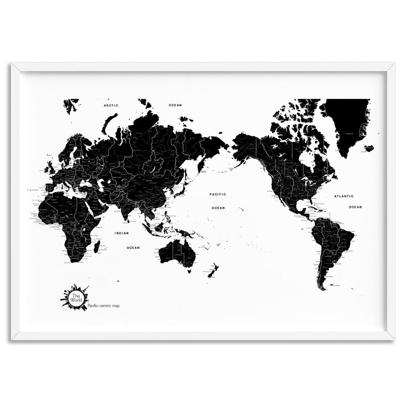 World Map Black & White - Art Print