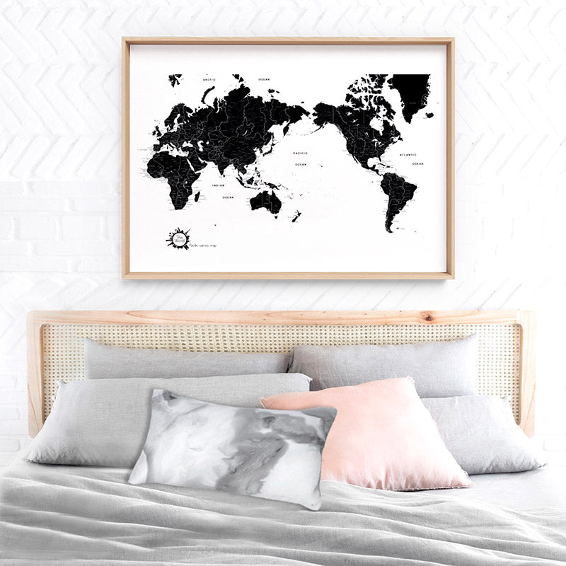 World Map Black & White - Art Print, Stretched Canvas or Framed Canvas Wall Art, Shown inside a frame