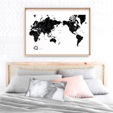 World Map Black & White - Art Print, Stretched Canvas, or Framed Canvas Wall Art