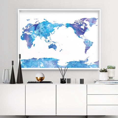 World Map Blue Watercolour - Art Print, Stretched Canvas, or Framed Canvas Wall Art