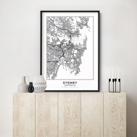 City Maps / SYDNEY - Art Print, Stretched Canvas, or Framed Canvas Wall Art