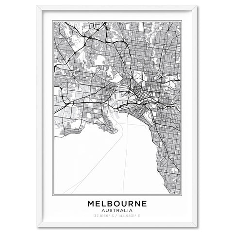 City Maps / MELBOURNE - Art Print, Stretched Canvas, or Framed Canvas Wall Art