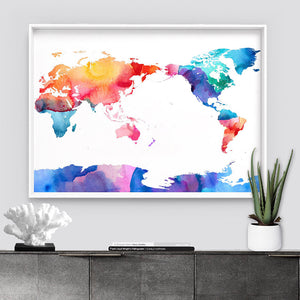 World Map Rainbow Watercolour - Art Print, Stretched Canvas or Framed Canvas Wall Art, Shown inside a frame