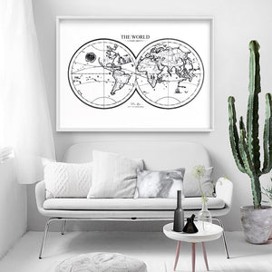 World Map Double Hemisphere - Art Print, Stretched Canvas or Framed Canvas Wall Art, Shown inside a frame