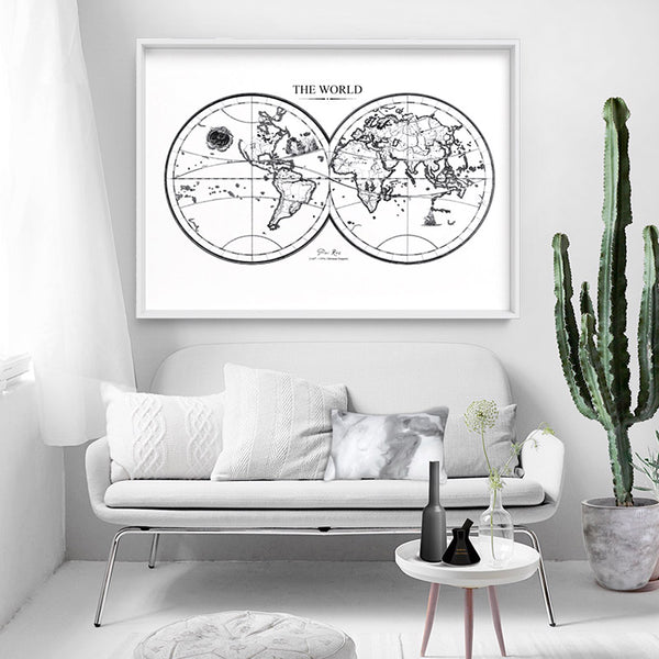 World Map Double Hemisphere - Art Print