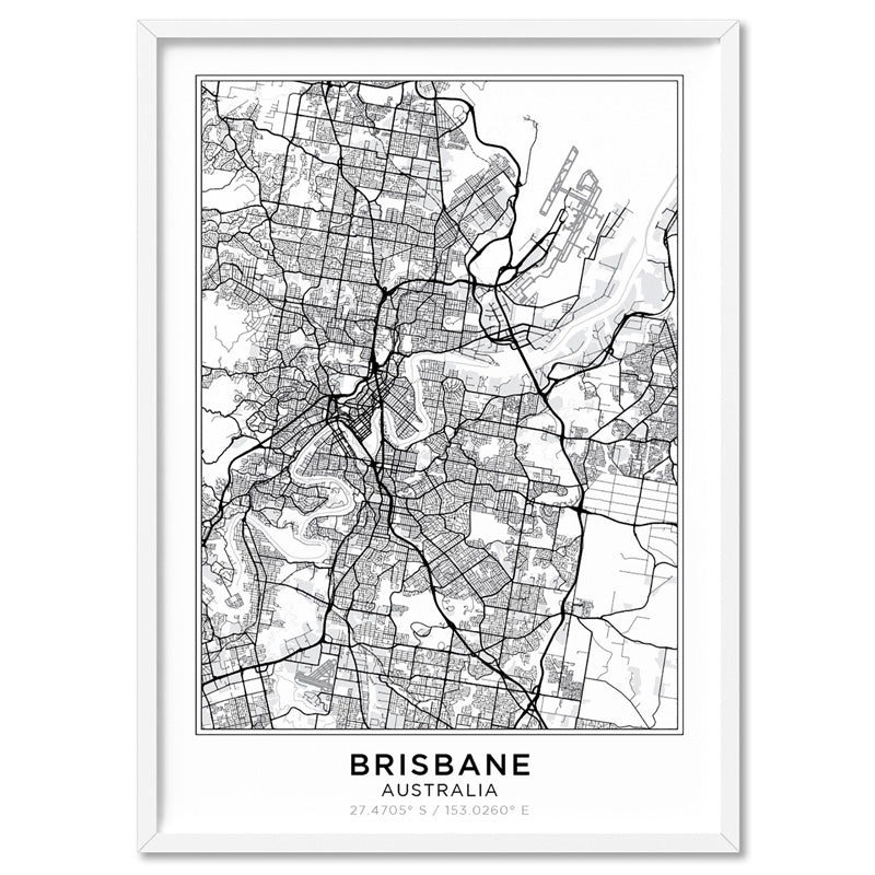 City Maps / BRISBANE - Art Print, Stretched Canvas, or Framed Canvas Wall Art