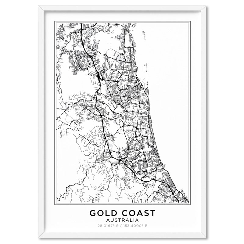 City Maps / GOLD COAST - Art Print, Stretched Canvas, or Framed Canvas Wall Art