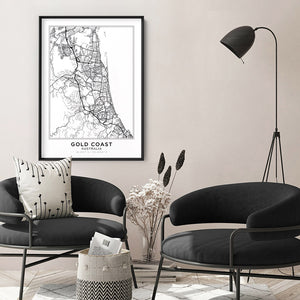 City Map | GOLD COAST - Art Print, Shown framed in a room mockup