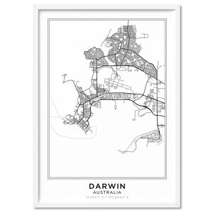 City Maps / DARWIN - Art Print, Stretched Canvas, or Framed Canvas Wall Art