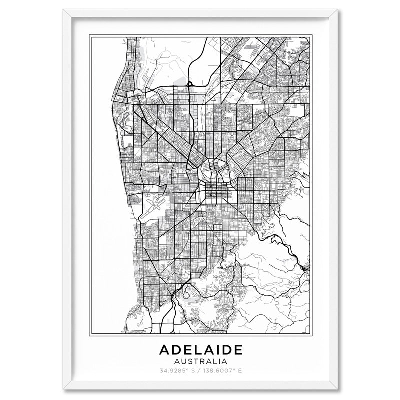 City Map | ADELAIDE - Art Print, Stretched Canvas, or Framed Canvas Wall Art