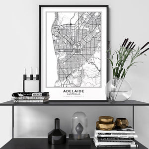 City Map | ADELAIDE - Art Print, Shown framed in a room mockup