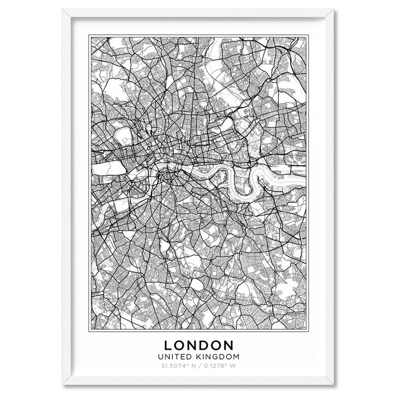 City Maps / LONDON - Art Print, Stretched Canvas, or Framed Canvas Wall Art