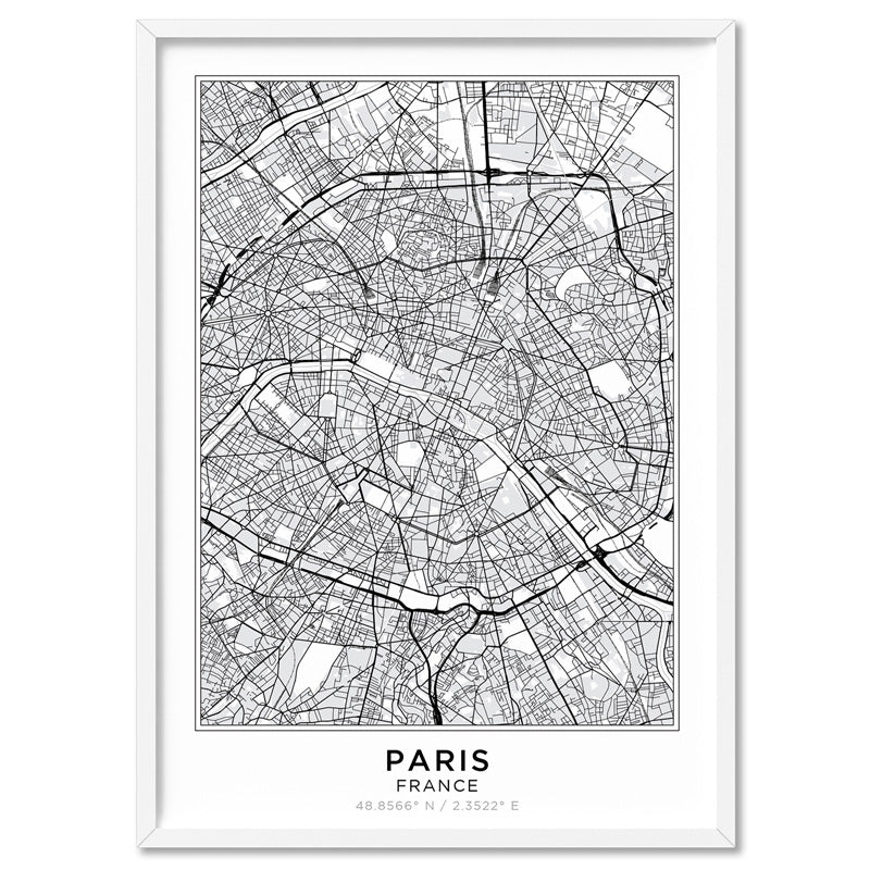 City Maps / PARIS - Art Print, Stretched Canvas, or Framed Canvas Wall Art