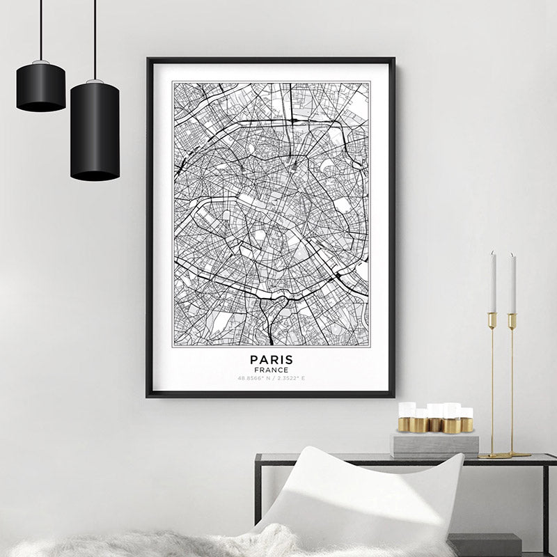 City Map | PARIS - Art Print, Shown framed in a room mockup