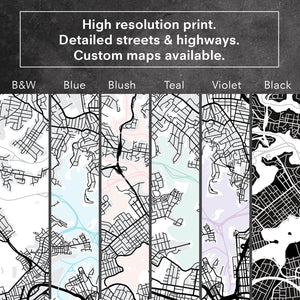 City Map | PARIS - Art Print, Close up details & colours shown