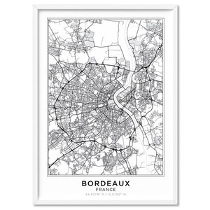City Map | BORDEAUX - Art Print, Stretched Canvas, or Framed Canvas Wall Art