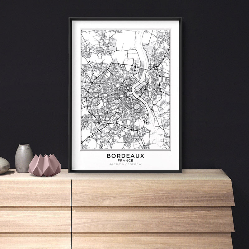 City Map | BORDEAUX - Art Print, Shown framed in a room mockup