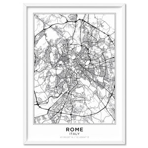 City Maps / ROME - Art Print, Stretched Canvas, or Framed Canvas Wall Art