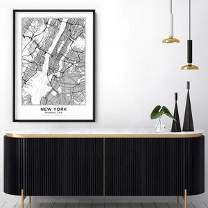City Maps / NEW YORK - Art Print, Stretched Canvas or Framed Canvas Wall Art, Shown inside a frame