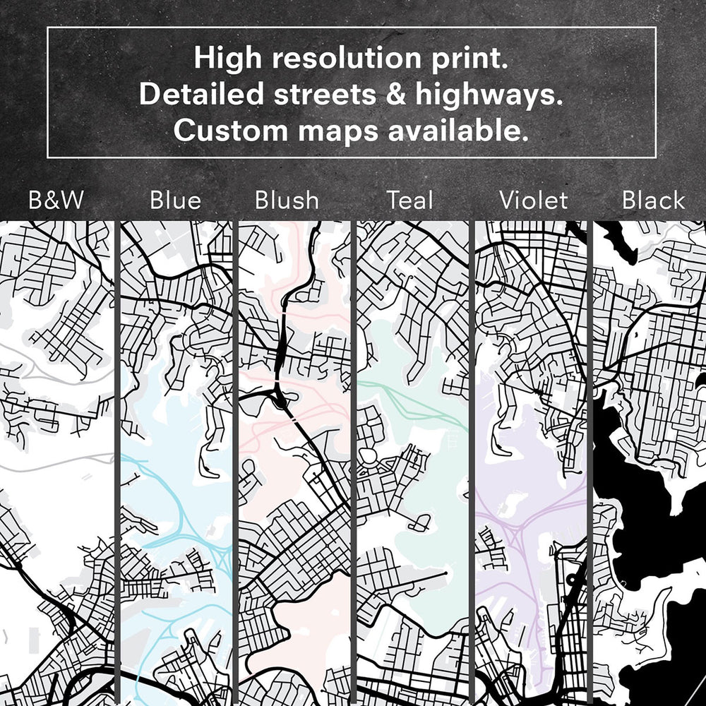 City Maps / NEW YORK - Art Print, Stretched Canvas or Framed Canvas Wall Art, Close up View of Print Resolution