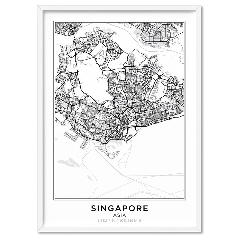 City Maps / SINGAPORE - Art Print, Stretched Canvas, or Framed Canvas Wall Art