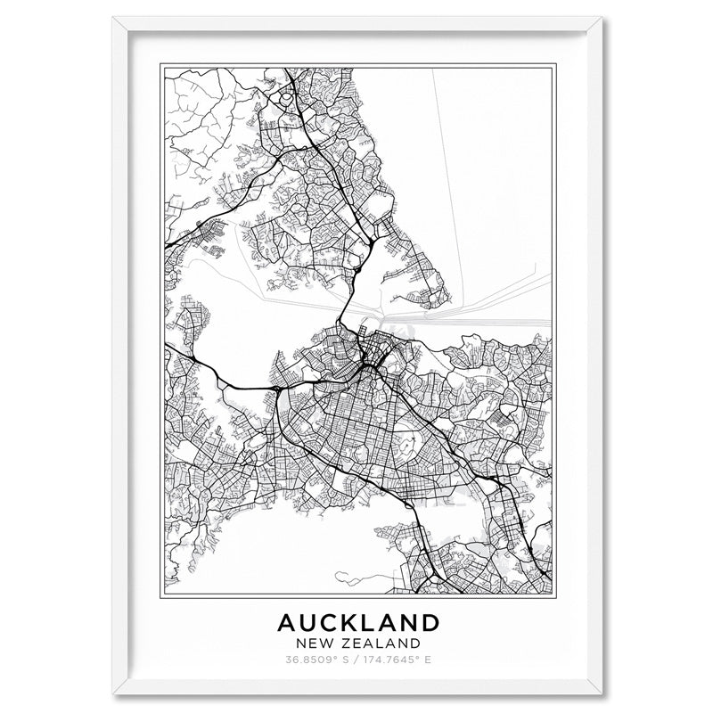 City Maps / AUCKLAND - Art Print, Stretched Canvas, or Framed Canvas Wall Art