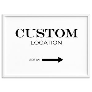 Custom Personalised Location // Marfa Style - Art Print, Stretched Canvas, or Framed Canvas Wall Art