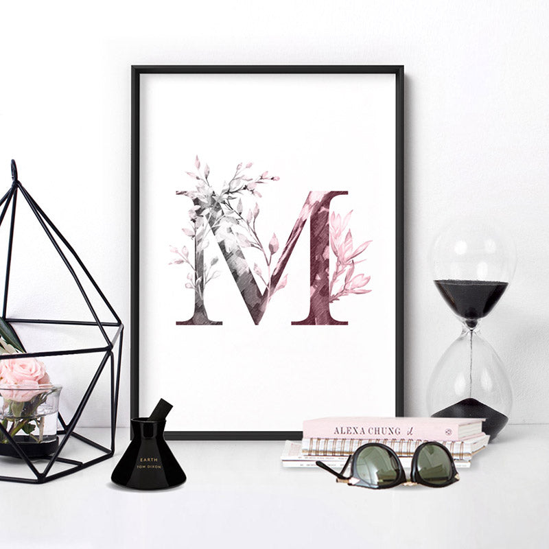 Custom Personalised Floral Watercolour Grey & Blush Initial - Art Print, Stretched Canvas or Framed Canvas Wall Art, Shown inside a frame