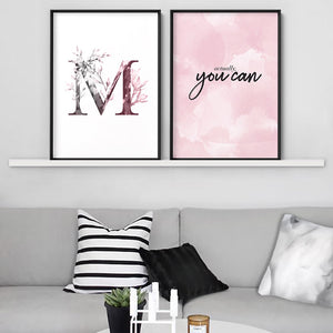 Custom Personalised Floral Watercolour Grey & Blush Initial - Art Print, Stretched Canvas or Framed Canvas Wall Art, Shown framed in a room mockup